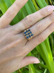 Blue Sapphire Square Ring 1977