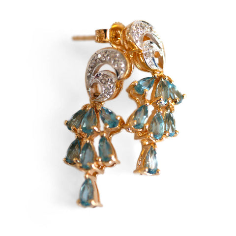 Vintage Blue Sapphire & Diamond Cocktail Earrings