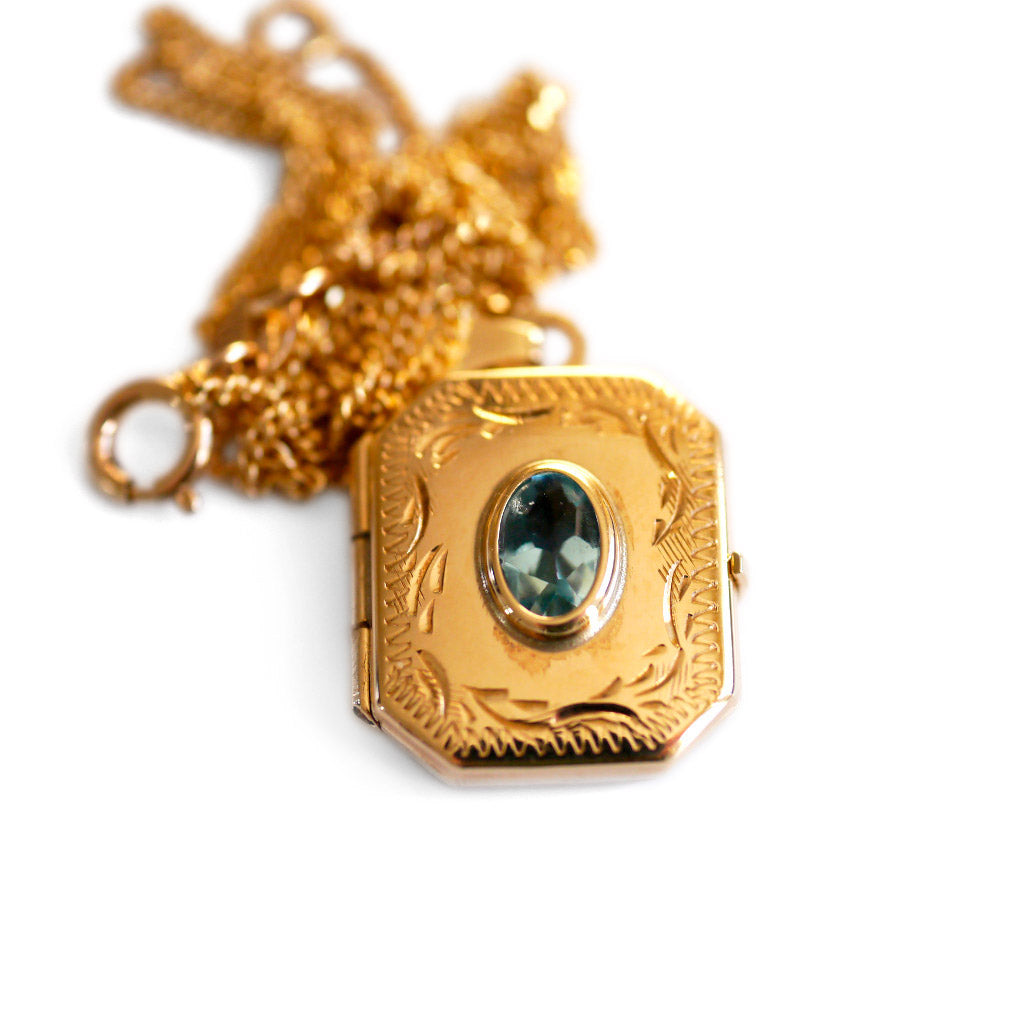 Blue Topaz Locket Pendant
