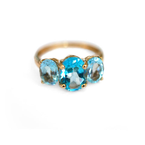 Blue Topaz Trilogy Empress Ring