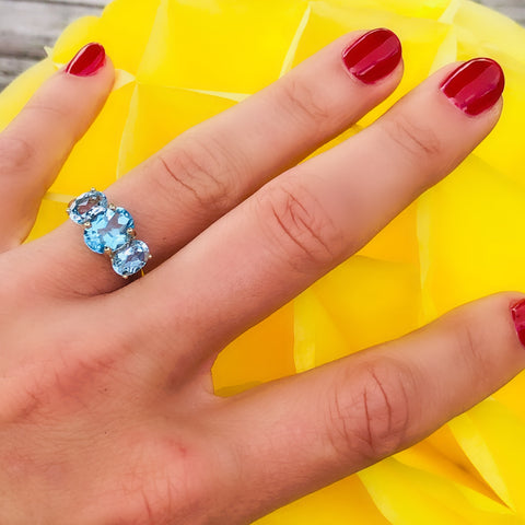 Vintage Blue Topaz Trilogy Empress Ring
