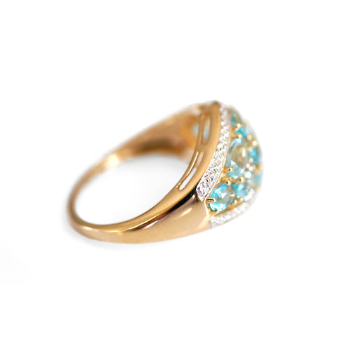 Vintage Blue Topaz & Dazzling Diamond Dress Ring