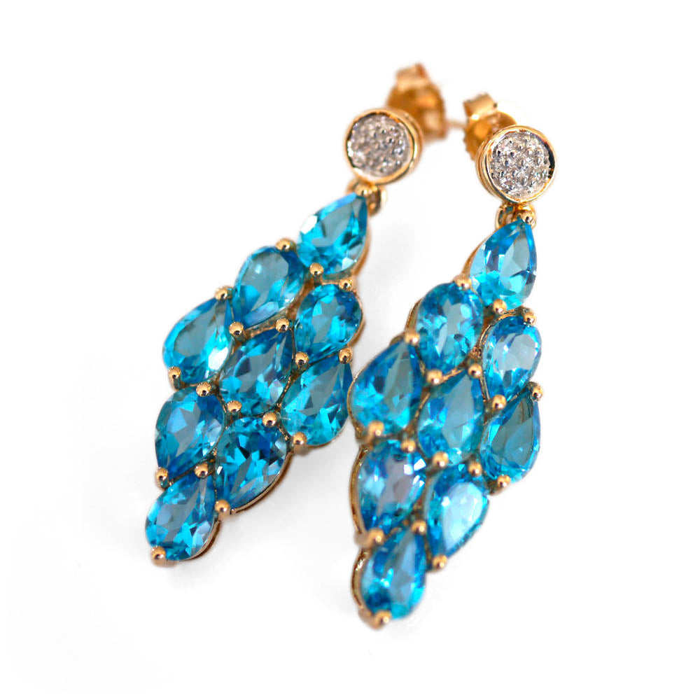 Blue Topaz & Diamond Cocktail Earrings