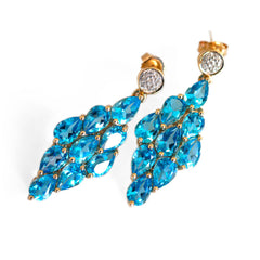 Blue Topaz & Diamond Vintage Earrings