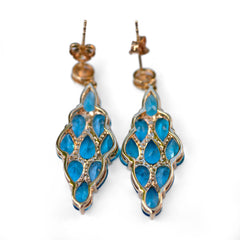 Vintage Blue Topaz & Diamond Earrings