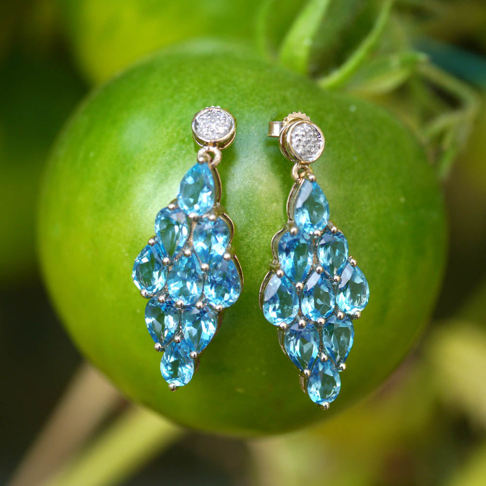 Vintage Blue Topaz & Diamond Cocktail Earrings