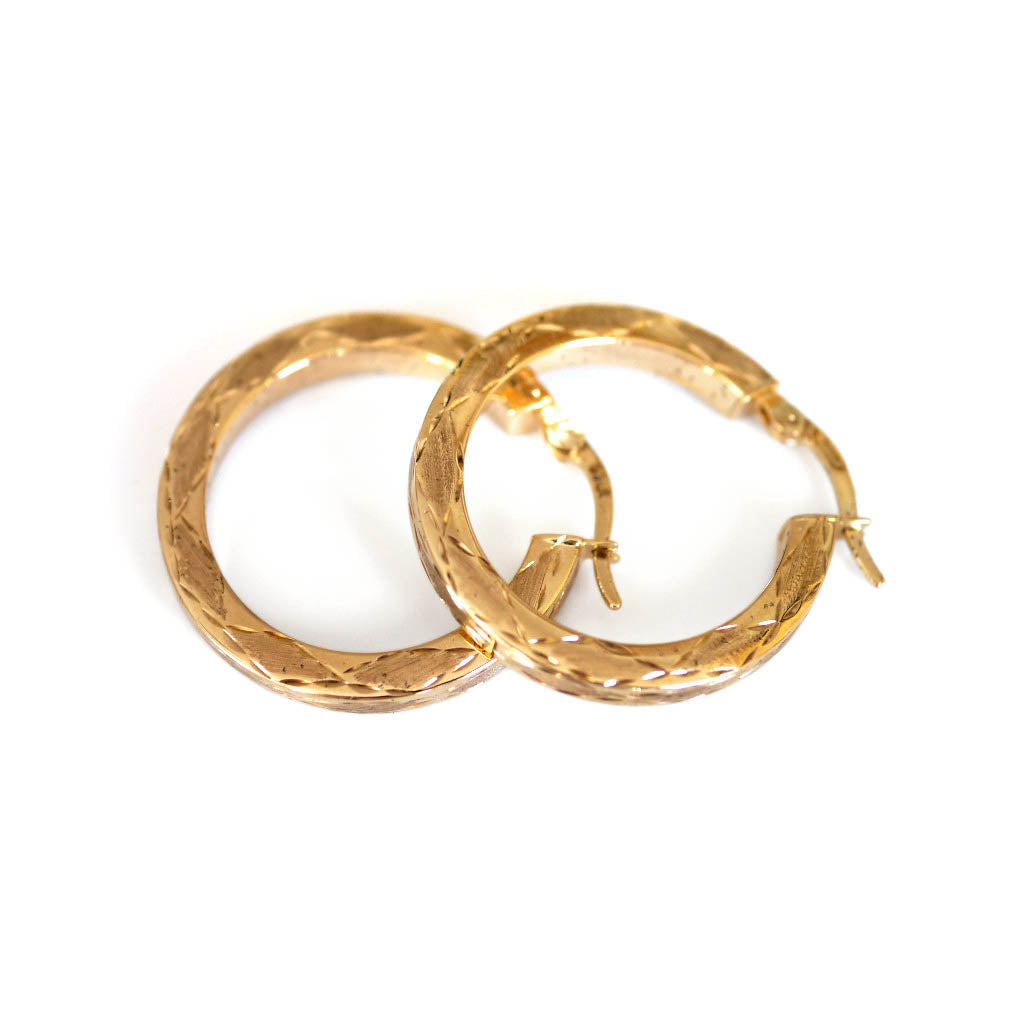 Gold Glorious Gold: Diamond Etched Hoops