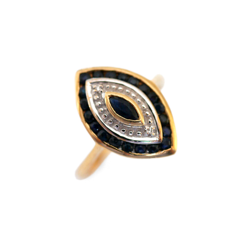 Marquise Sapphire & Diamond Vintage Eye Ring