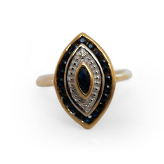 Vintage Marquise Sapphire & Diamond Eye Ring