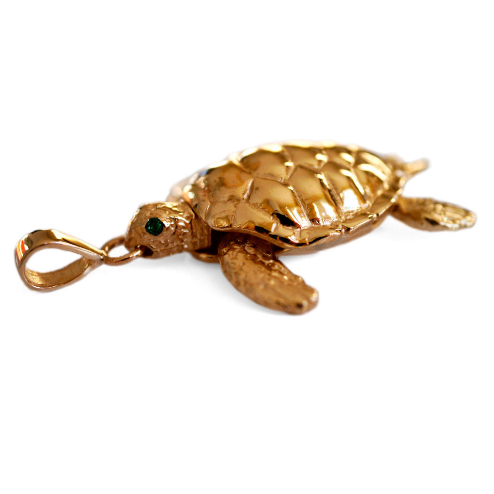 Vintage Emerald Eyed Gold Articulated Turtle Pendant