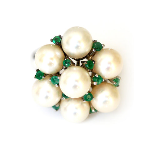 Elegant Vintage Silver Emerald and Pearl Cocktail Ring