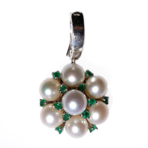 Silver Linings: Elegant Emerald and Pearl Pendant