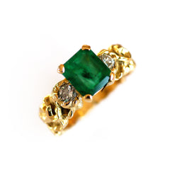 Emerald and Diamond 1970s Gold Ring