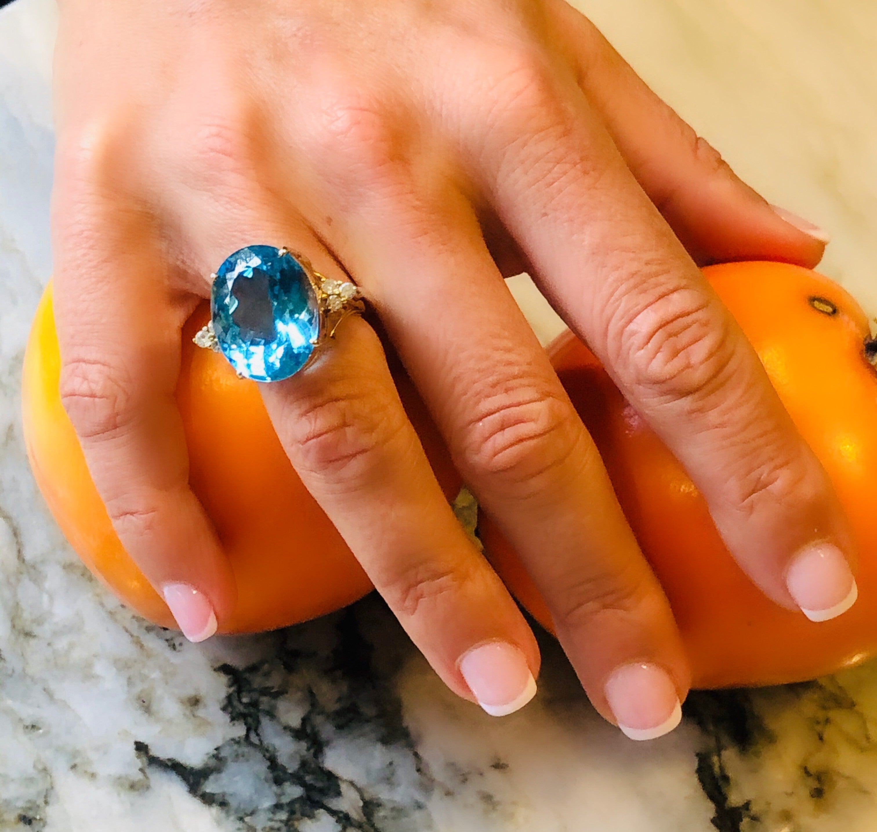 Blue Topaz & Dazzling Diamond ENORMOUS Cocktail Ring