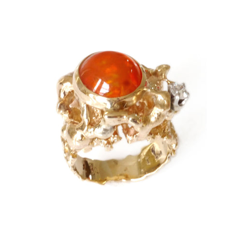 Fabulous Fire Opal and Diamond 1970s Cocktail Ring