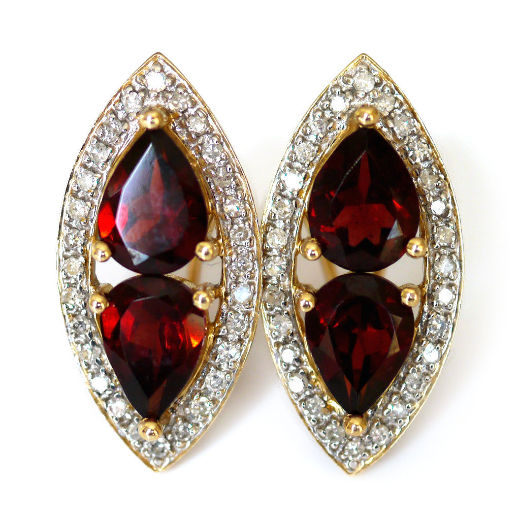 Garnet and Diamond Vintage Earrings