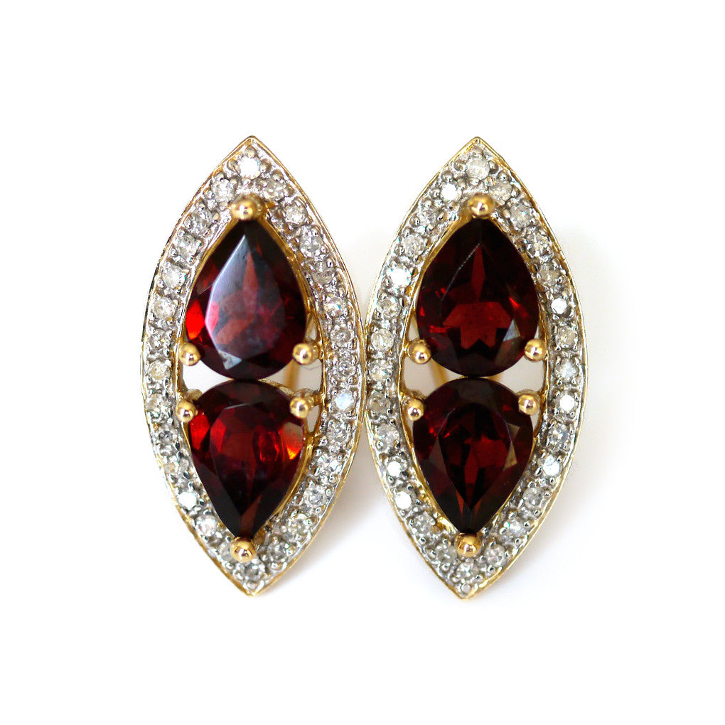 Glittering Garnet and Diamond Earrings
