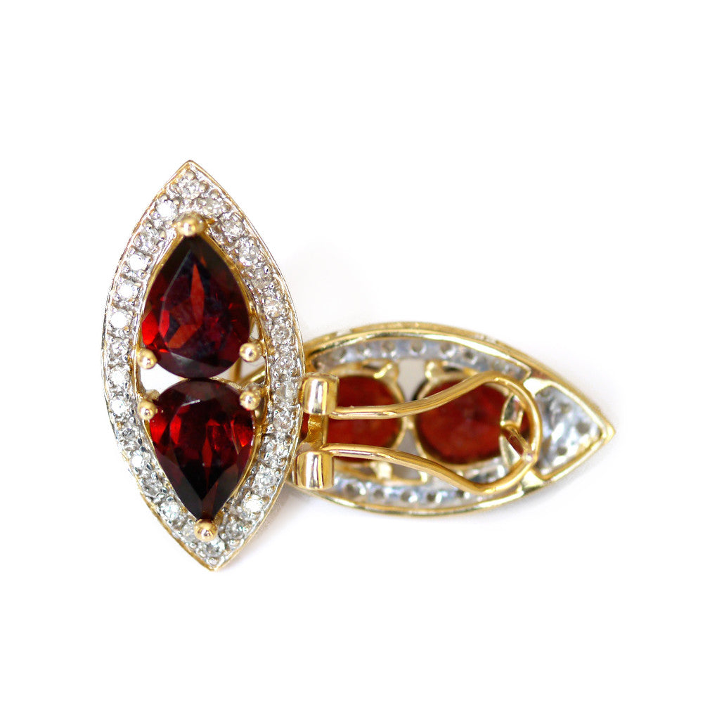 Vintage Garnet and Diamond Earrings