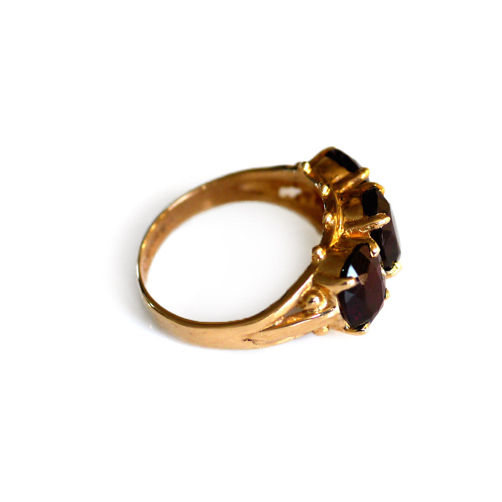 Glittering Garnet Triumvirate Vintage Dress Ring 1975