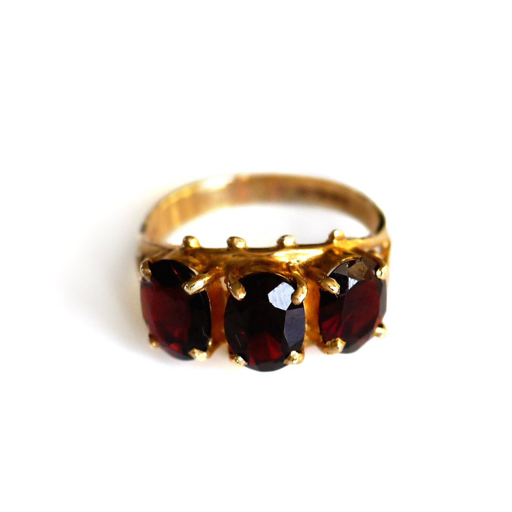Glittering Garnet Triumvirate Dress Ring 1975