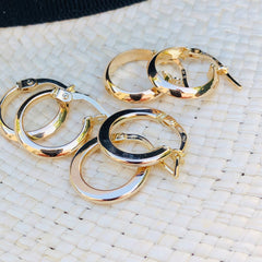 Vintage Gold Small Ridged Hoops