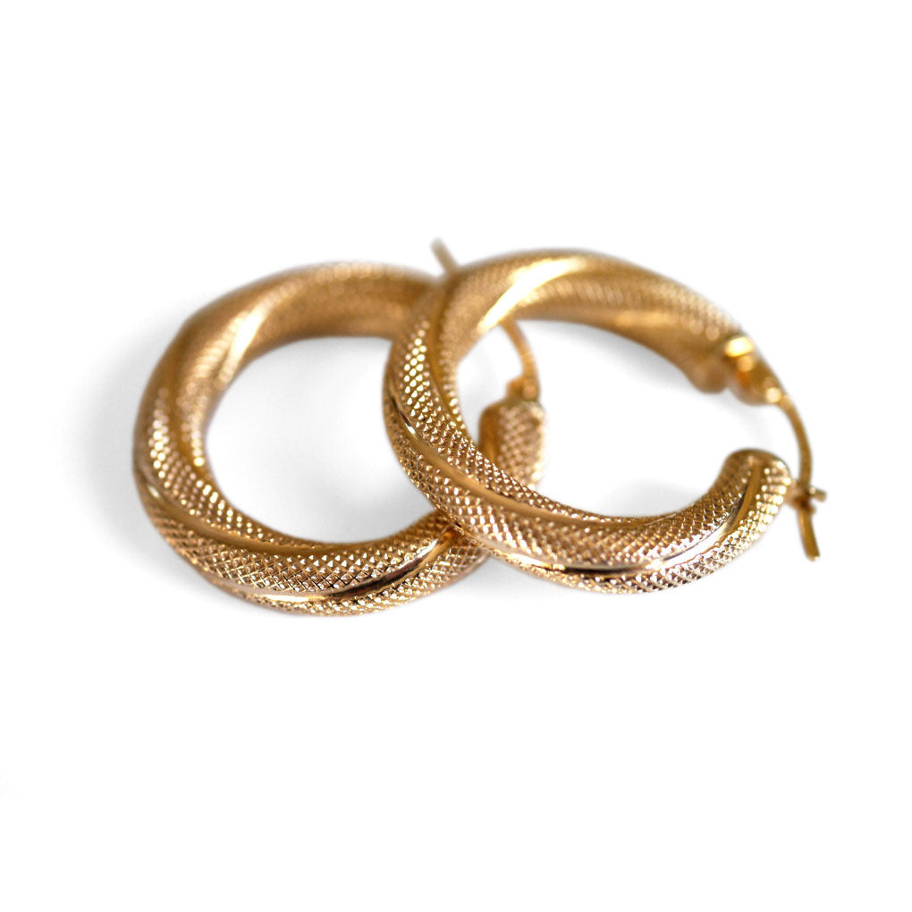 Earrings Vintage Gold Mesh Twist Hoops