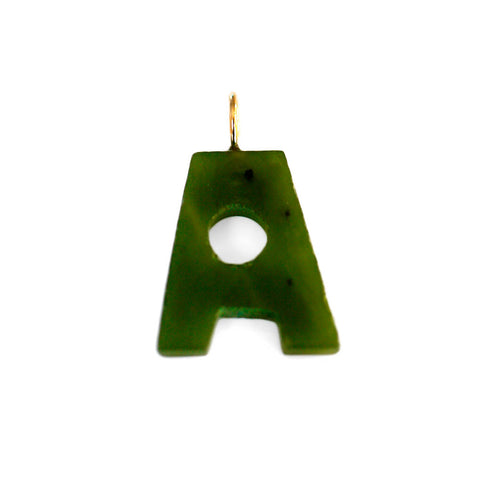 "Gold & Green Jade Initial ""A"" Pendant"