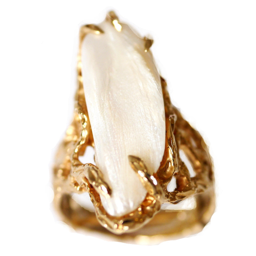 Swaggering Seventies Pearl and Gold Ring