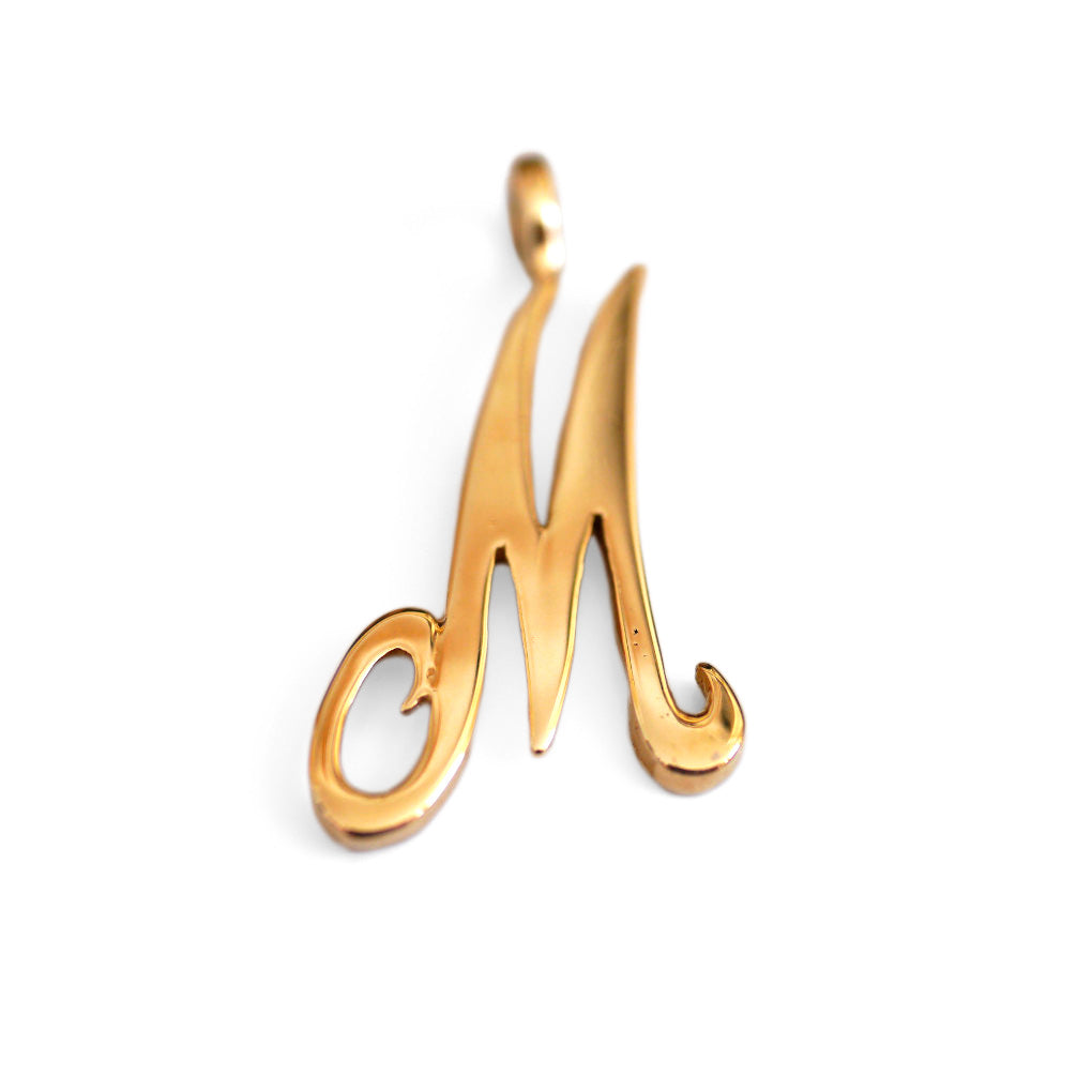 Gold Glorious Gold: Initial Large M Pendant