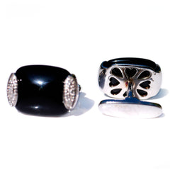 Silver Linings: Black Onyx & Pave Diamond Cufflinks