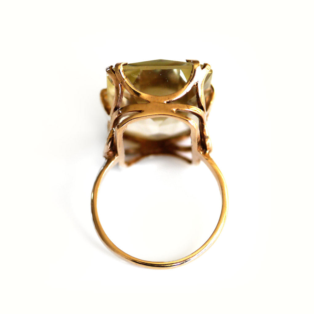 Lemon Quartz (Oro Verde) Cocktail Ring
