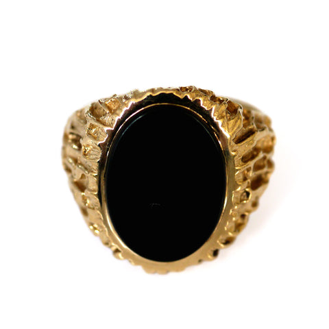 Swaggering Seventies Onyx & Barked Gold Ring