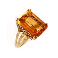 Citrine Emerald Cut Ring