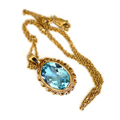 Blue Topaz Pendant Necklace