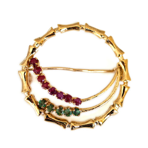 Elegant Emerald and Ruby Bamboo Brooch