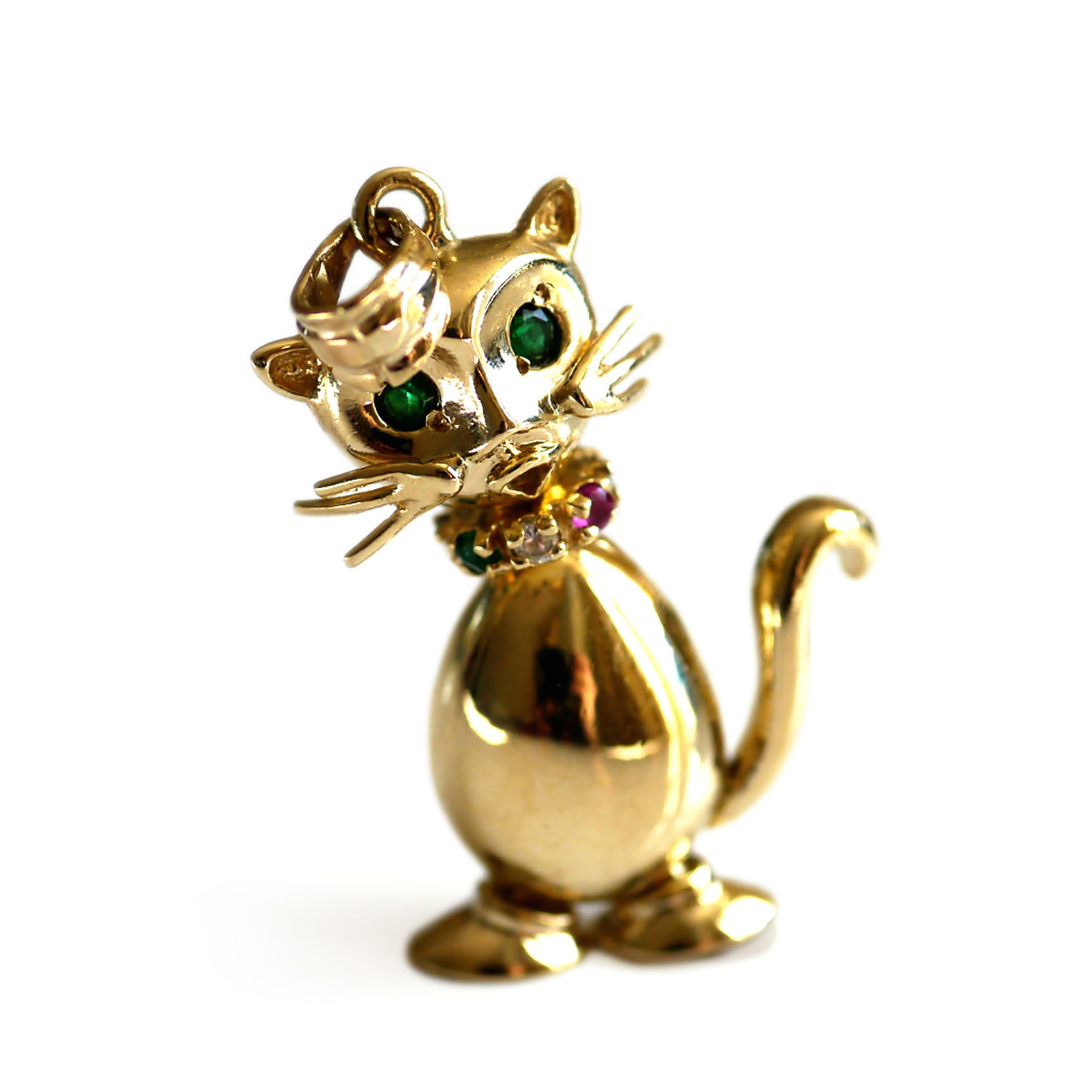 Emerald Eyed Gold Cat Pendant