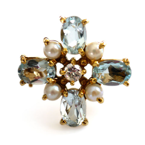 Astounding Aquamarine, Diamond and Seed Pearl Brooch