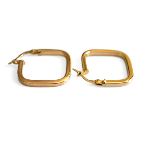 Gold Glorious Gold: Square Hoops (Small)