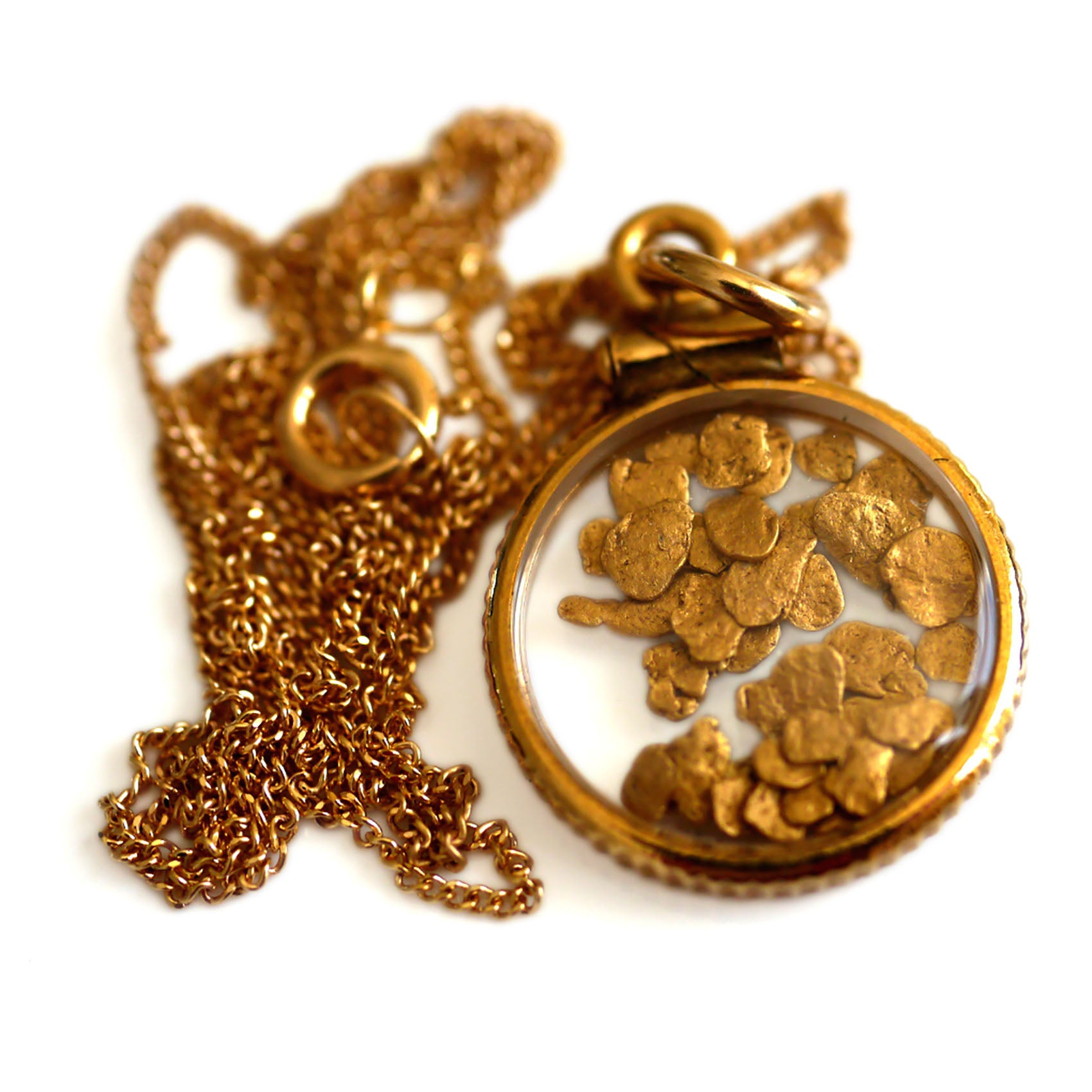 Gold Glorious Gold: Gold Flake Locket Necklace