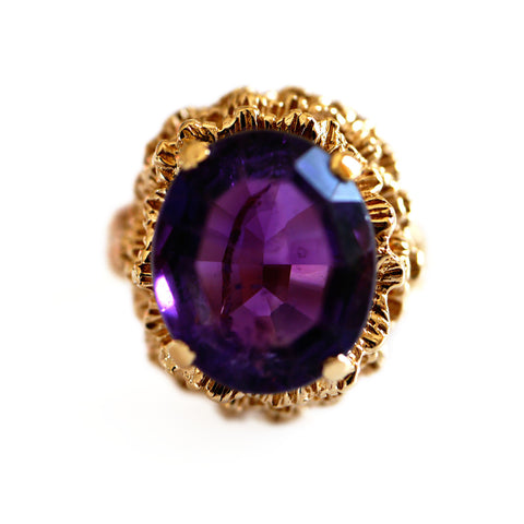Amethyst 1960s Cocktail Ring