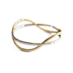 Vintage Yellow and White Gold Two Tone Bangle