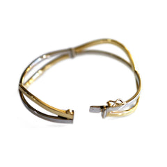Yellow and White Gold Two Tone Vintage Bangle