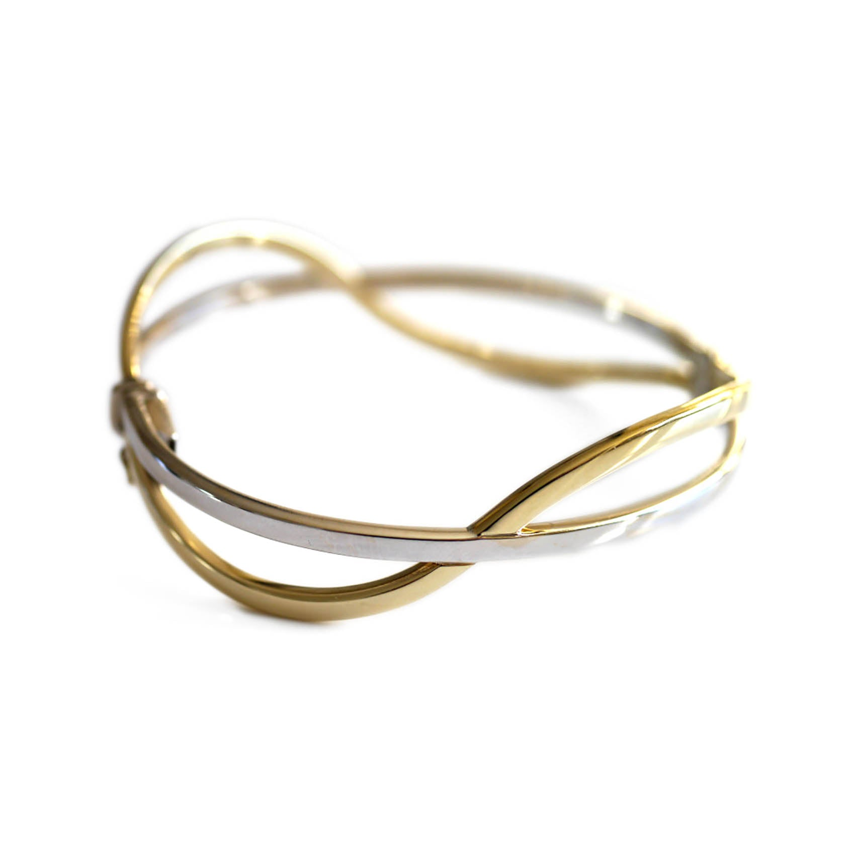 Vintage Yellow and White Vintage Gold Two Tone Bangle