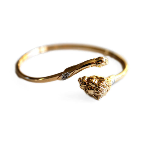 Gold Glorious Gold: Diamond Lion Bangle