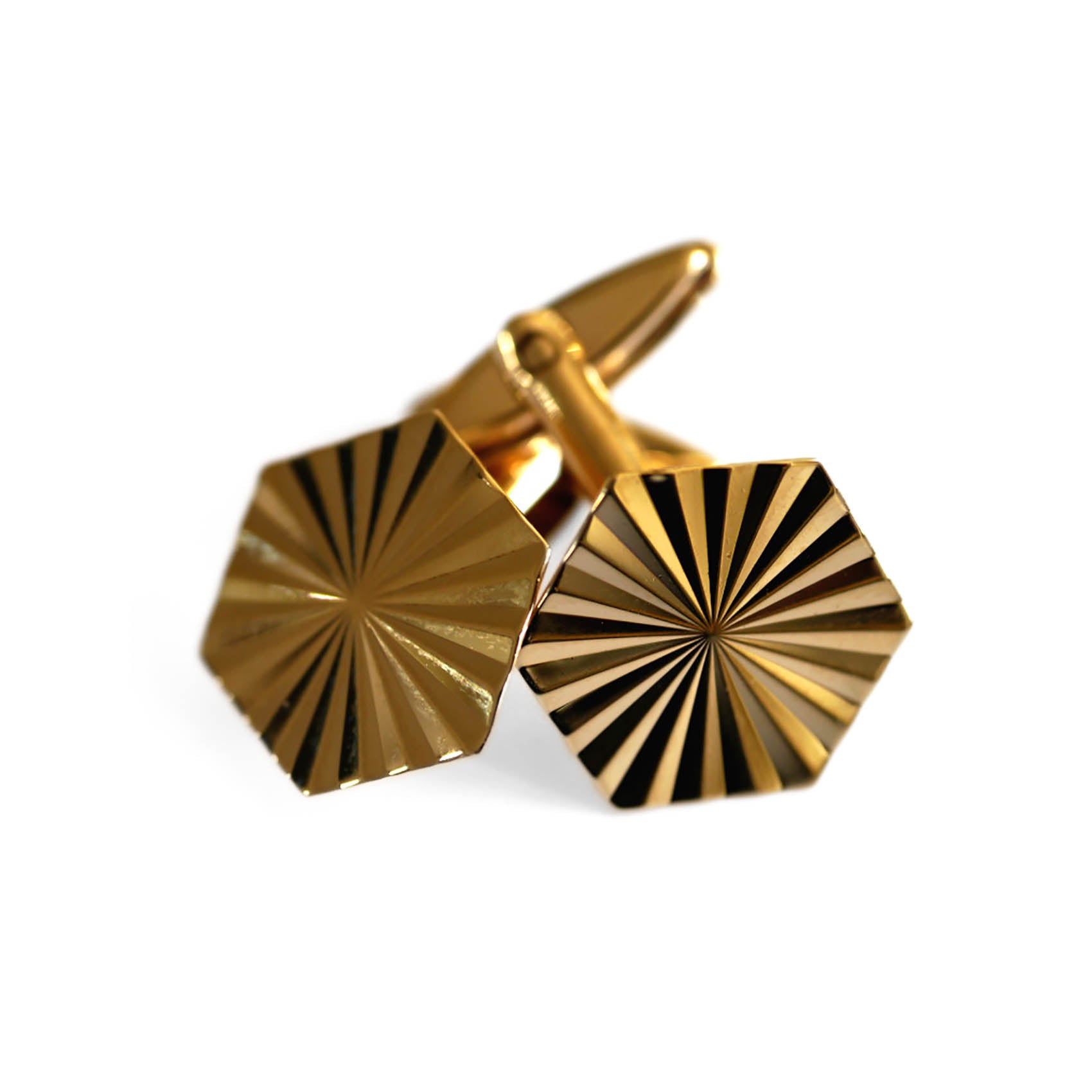 Gold Glorious Gold: Hexagonal 1960s Cufflinks