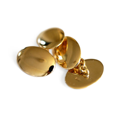Mens Vintage Jewellery Gold Classic Oval Plain Cufflinks