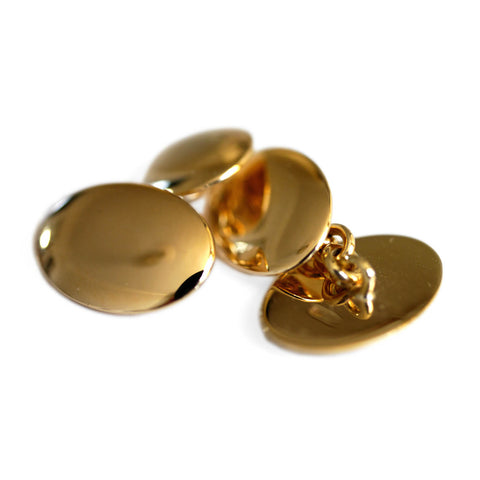 Classic Oval Plain Vintage Gold Cufflinks