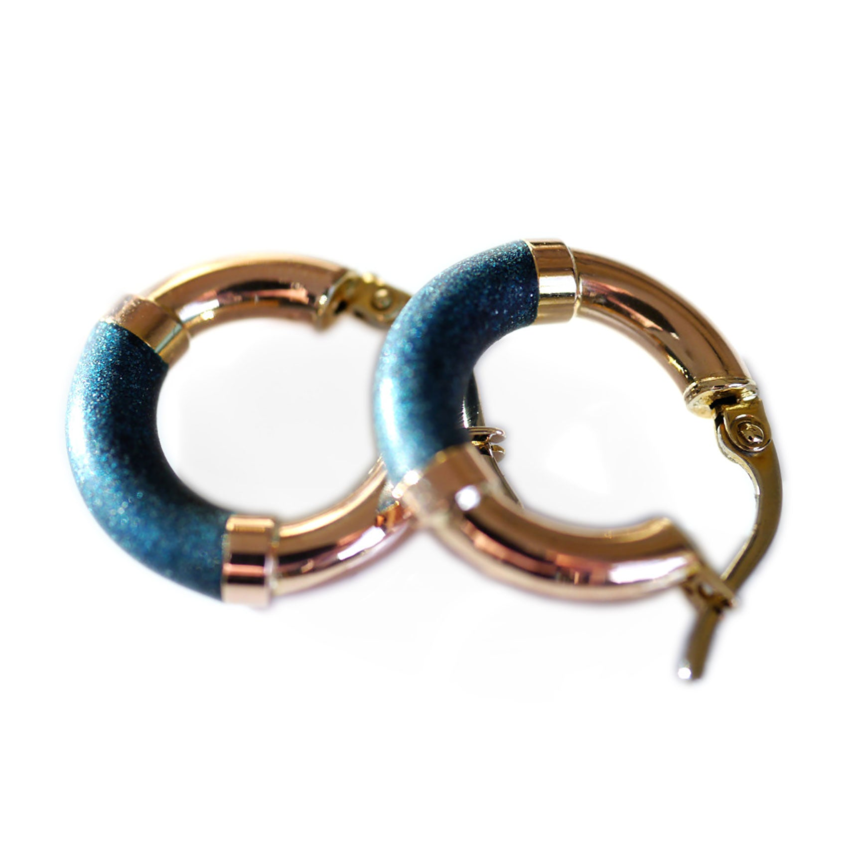 Blue Teal Hooped Earrings