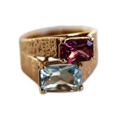 Astounding Aquamarine and Pink Garnet 1970s Ring