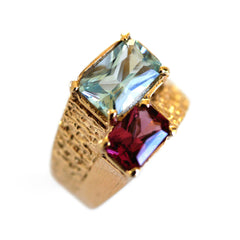 Astounding Aquamarine and Pink Garnet Ring 1970s